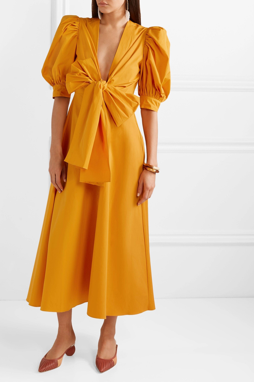 Silvia Tcherassi Miosotis bow-embellished cotton-poplin midi dress