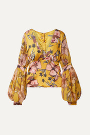 Corinilla floral-print silk-blend satin and organza blouse