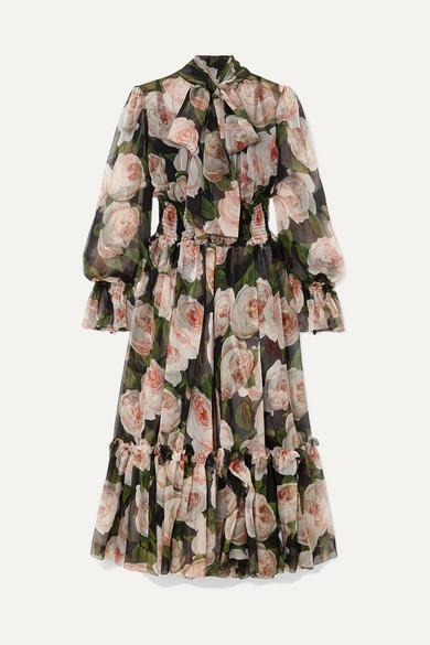 Pussy Bow Floral Print Silk Chiffon Dress by Dolce & Gabbana
