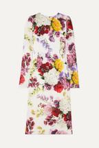Dolce   Gabbana Floral-print silk-blend satin midi dress 43ad6ca9d2a