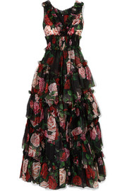 Dolce & Gabbana Ruffled tiered floral-print silk-chiffon gown