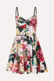 Dolce & Gabbana Pleated floral-print cotton-blend mini dress