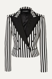 Dolce & Gabbana Cropped jacquard-trimmed striped twill blazer