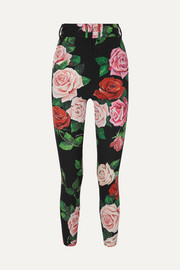 Dolce & Gabbana Floral-print stretch-silk charmeuse skinny pants