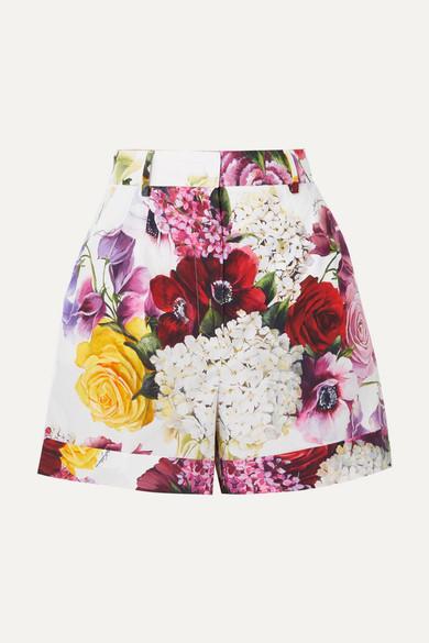 DOLCE & GABBANA | Dolce & Gabbana - Floral-print Cotton-poplin Shorts - White | Goxip