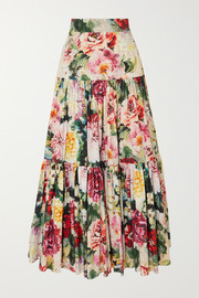 Dolce & Gabbana Tiered ruffled floral-print cotton-poplin maxi skirt