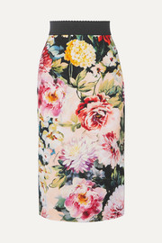 Dolce & Gabbana Floral-print stretch-crepe skirt