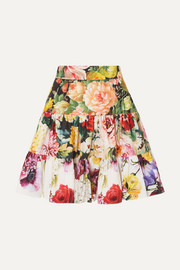 Dolce & Gabbana Tiered floral-print cotton-poplin mini skirt