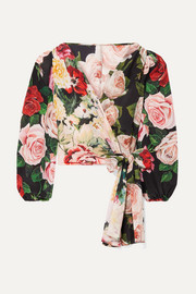 Floral-print silk crepe de chine wrap top