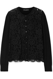Dolce & Gabbana Corded lace and wool-blend top