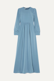 Gathered crepe de chine maxi dress