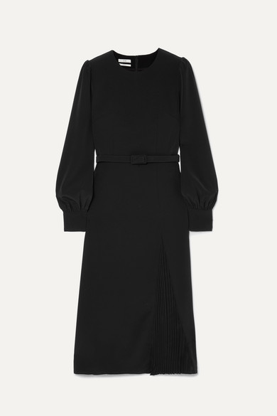 Belted Crepe Midi Dress