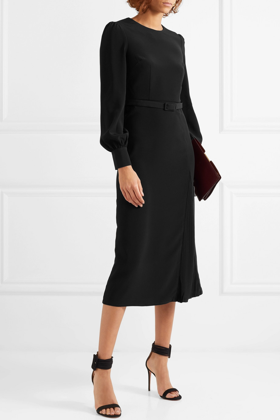 Co Belted crepe midi dress