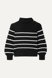 Button-detailed striped wool and cashmere-blend sweater