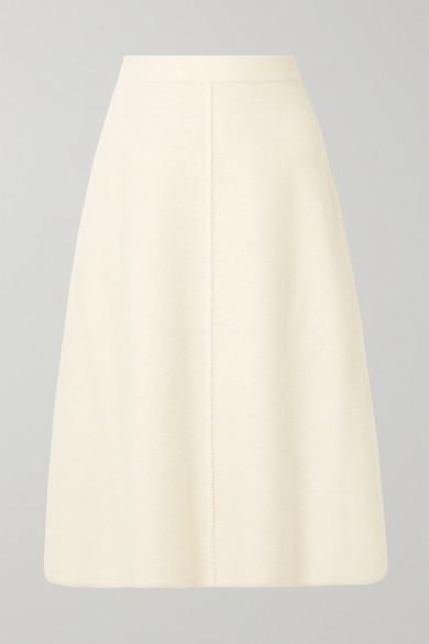 Alpaca And Wool-Blend Midi Skirt in Cream