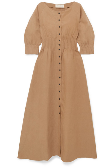 Amia Tencel And Linen-Blend Maxi Dress in Beige