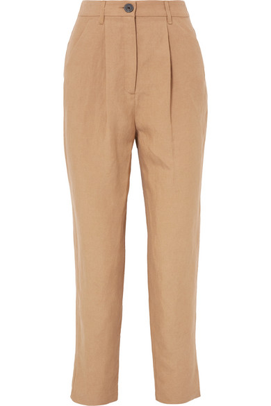 Dita Tencel And Linen-Blend Straight-Leg Pants in Beige