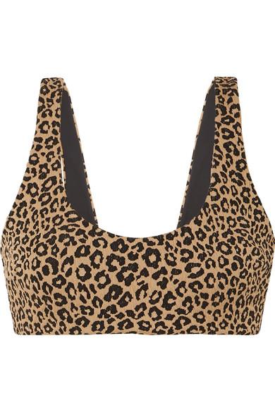 Lira Leopard Print Bikini Top by Mara Hoffman