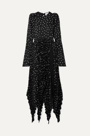 Greta asymmetric pleated polka-dot satin midi dress