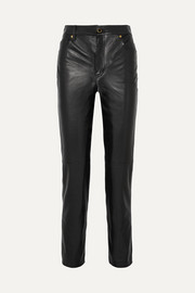 Victoria leather straight-leg pants