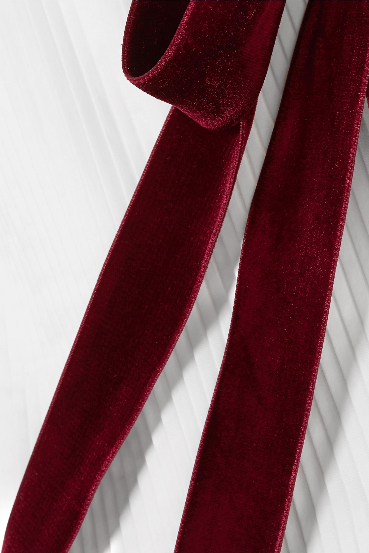 Khaite Robe midi plissée en popeline de coton et en velours Theodora