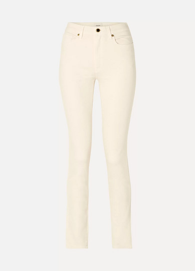 Vanessa High-Rise Slim-Leg Jeans in Ivory