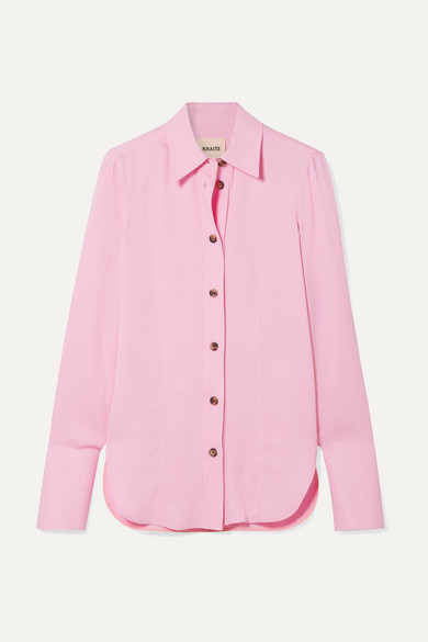 Delia Crepe Shirt in Baby Pink