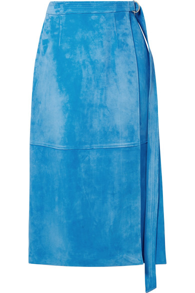 SALLY LAPOINTE Belted Wrap-Effect Suede Midi Skirt in Light Blue
