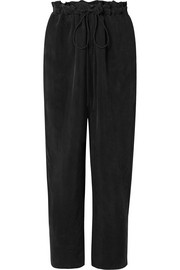Sally LaPointe Cropped washed-crepe straight-leg pants