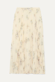Abbot pleated floral-print silk-chiffon midi skirt