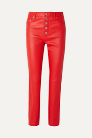 Den leather straight-leg pants