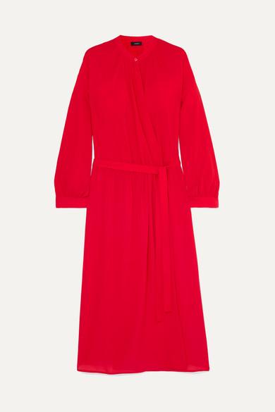 Joseph Nolan Wrap-effect Silk-georgette Midi Dress In Red