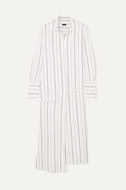 Claudi asymmetric striped poplin wrap dress