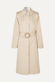 Carbon hooded cotton-garbardine trench coat