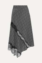 Templer lace-trimmed printed silk crepe de chine midi skirt