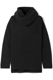 Oversized ribbed cashmere turtleneck sweater