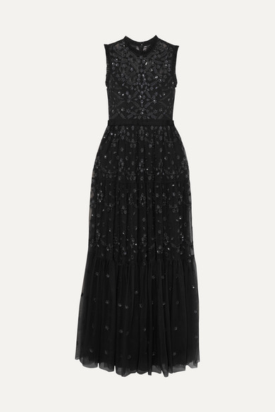 NEEDLE & THREAD Clover Sequined Embroidered Tulle Gown in Black