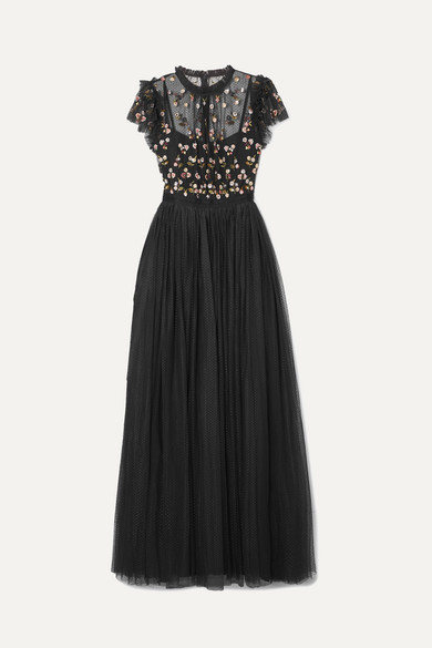 NEEDLE & THREAD   Needle & Thread - Rococo Sequined Point D'esprit And Embroidered Tulle Gown - Black   Goxip