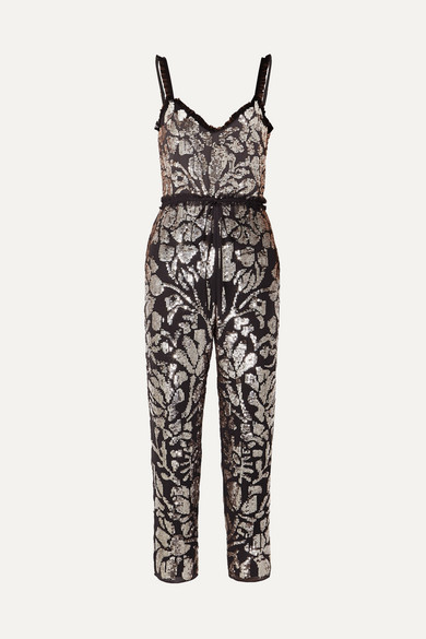 NEEDLE & THREAD Tulle-Trimmed Sequined Georgette Jumpsuit in Charcoal