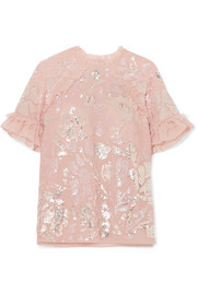 Tulle-trimmed sequin-embellished georgette blouse