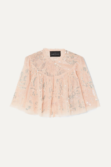 NEEDLE & THREAD Cropped Sequined Tulle Jacket in Baby Pink