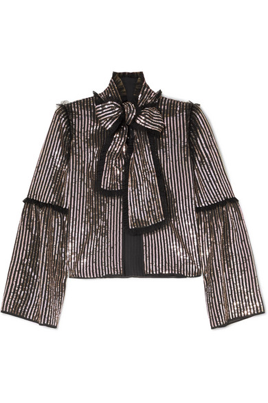 NEEDLE & THREAD Pussy-Bow Sequined Georgette Jacket in Silver