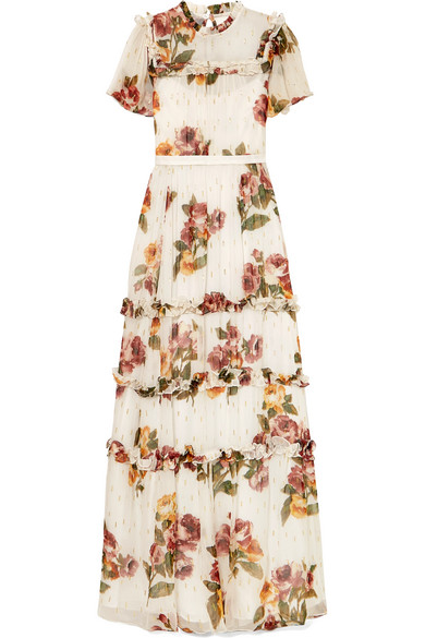 NEEDLE & THREAD   Needle & Thread - Venetian Ruffled Floral-print Fil Coupé Crepon Gown - Off-white   Goxip