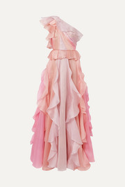 One-shoulder ruffled silk-organza gown