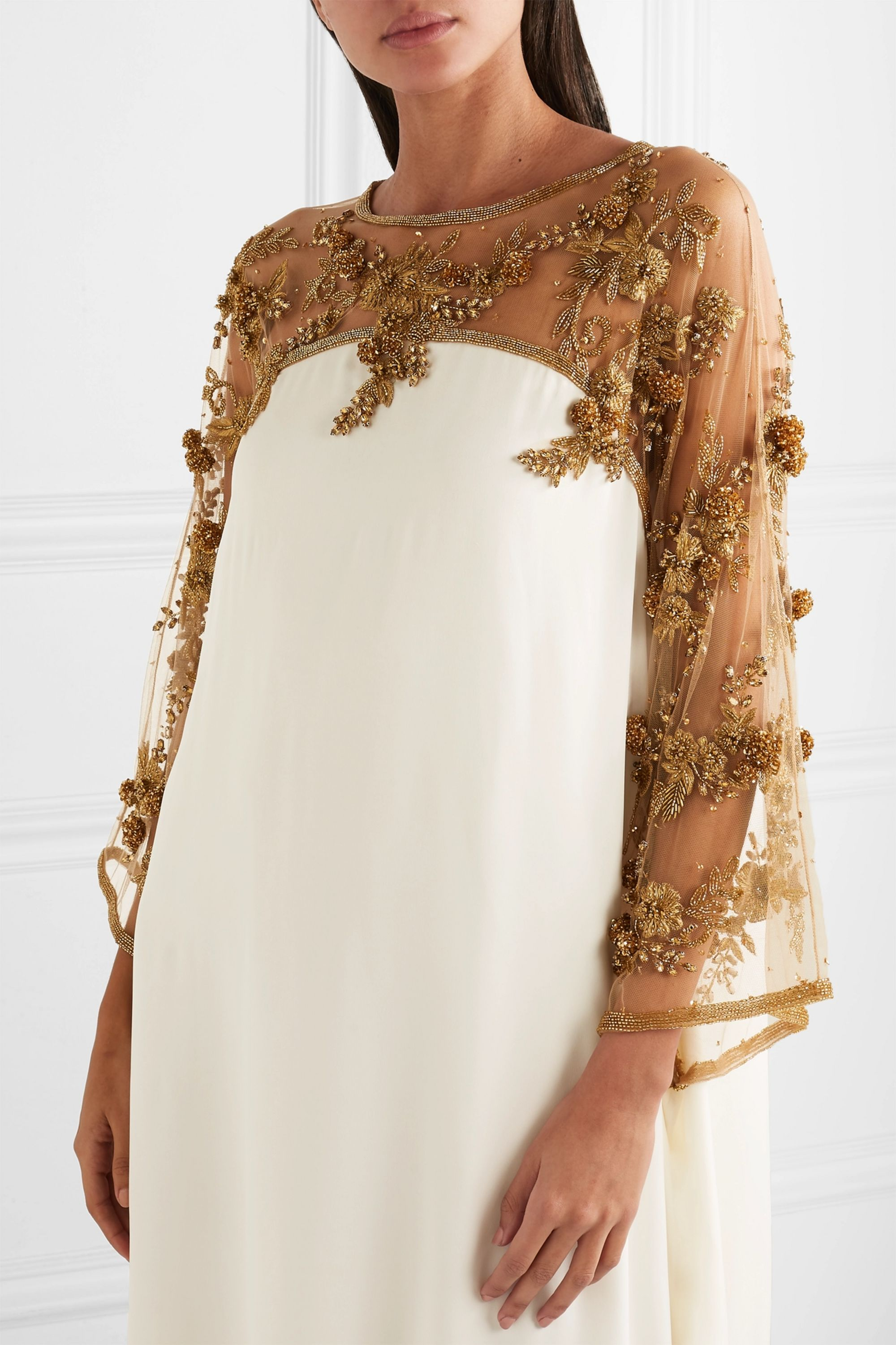 Marchesa Embellished tulle-trimmed silk gown
