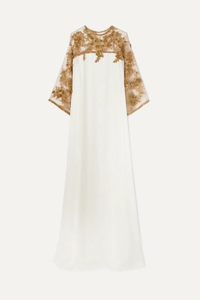 Embellished Tulle Trimmed Silk Gown by Marchesa