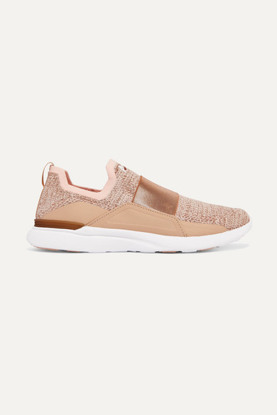 Apl Athletic Propulsion Labs TECHLOOM BLISS STRETCH-FAILLE TRIMMED METALLIC MESH AND NEOPRENE SNEAKERS