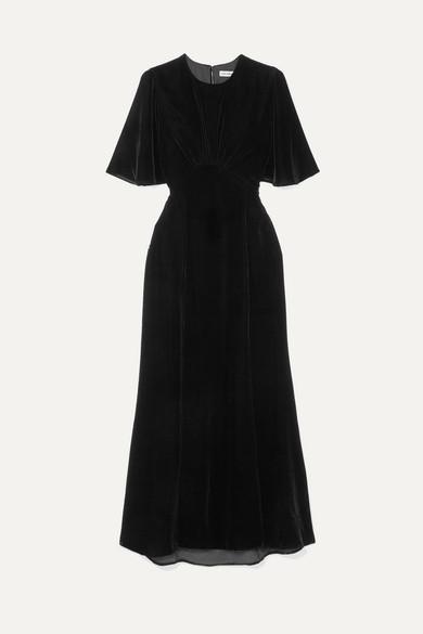 LES RÊVERIES Velvet Midi Dress in Black