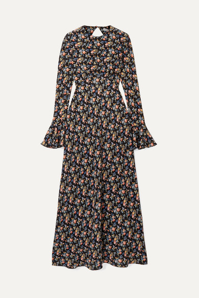 LES RÊVERIES Open-Back Floral-Print Silk Crepe De Chine Maxi Dress in Black