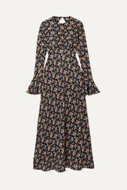 Les Rêveries Open-back floral-print silk crepe de chine maxi dress